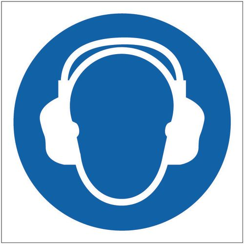Sign Ear Protector Pictorial 100x100 Rigid Plastic