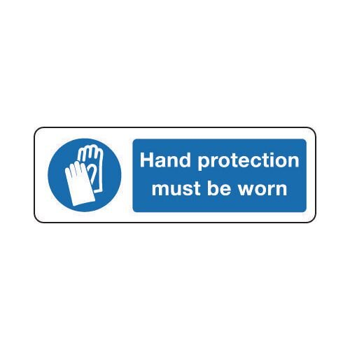 Sign Hand Protection Must 600x200 Rigid Plastic