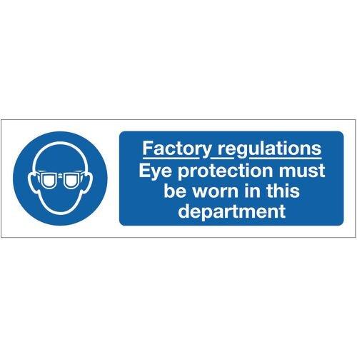 Sign Factory Regulations Eye 300x100 Rigid Plastic