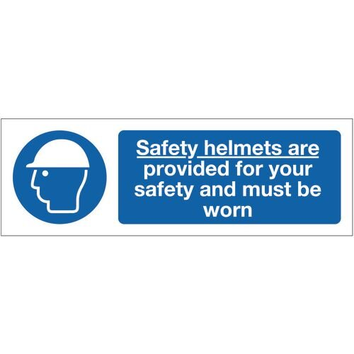 Sign Safety Helmets Are 600x200 Rigid Plastic