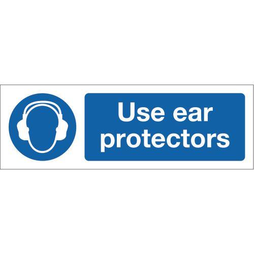 Sign Use Ear Protectors 600x200 Rigid Plastic