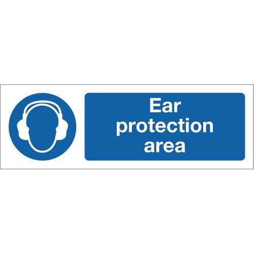 Sign Ear Protection Area 600x200 Rigid Plastic