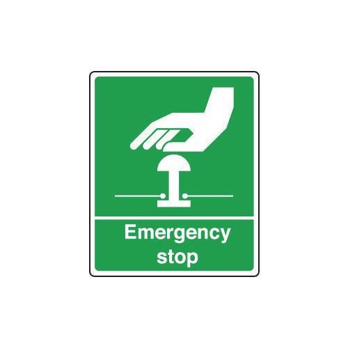 Sign Emergency Stop 150X200 Rigid Plastic Green