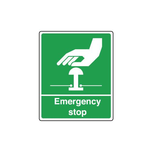 Sign Emergency Stop 250X300 Rigid Plastic Green