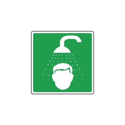 Sign Emergency Shower Symbol Rigid Plastic 100x100mm Green And White Ref 24MVDD