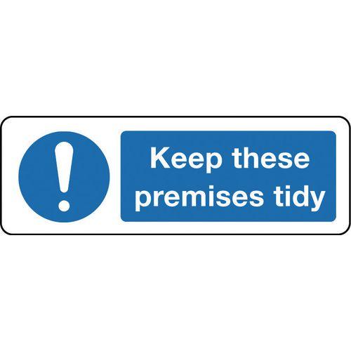 Sign Keep These Premises Tidy 600x200 Rigid Plastic