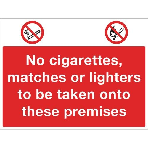 Sign No Cigarettes 600x450 Rigid Plastic