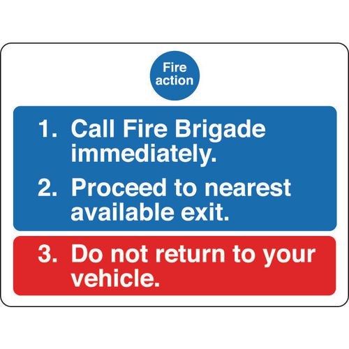 Sign Fire Action Notice 400x300 Rigid Plastic