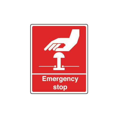 Sign Emergency Stop 75X100 Rigid Plastic Red