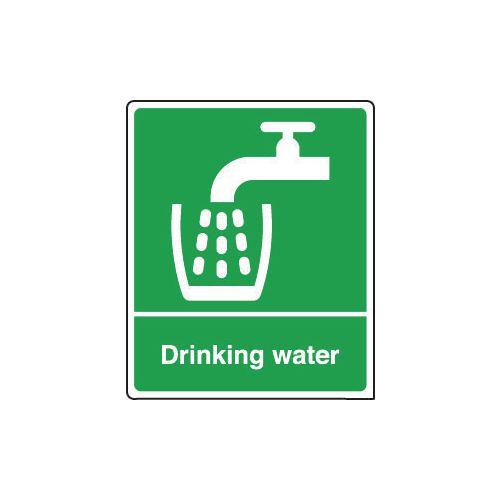 Sign Drinking Water 75x100 Rigid Plastic