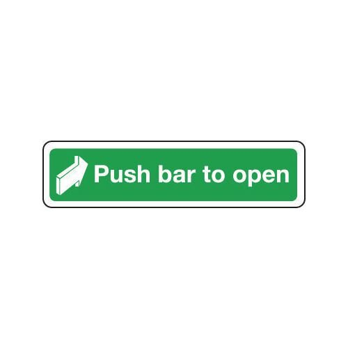 Sign Push Bar To Open 300x70 Rigid Plastic