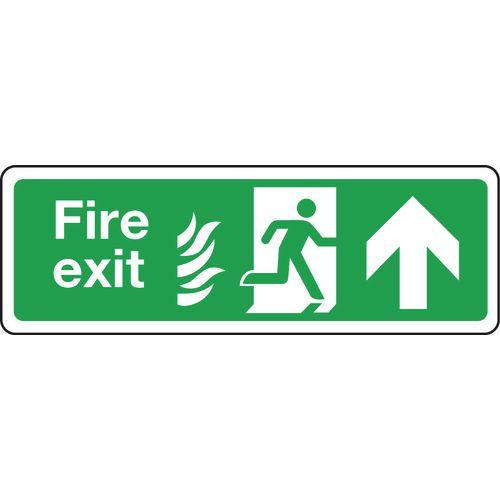 Sign Fire Exit Arrow Up 350x100 Rigid Plastic
