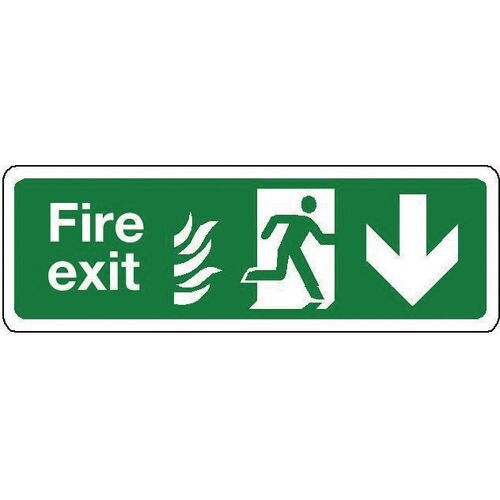 Sign Fire Exit Down 350x100 Rigid Plastic