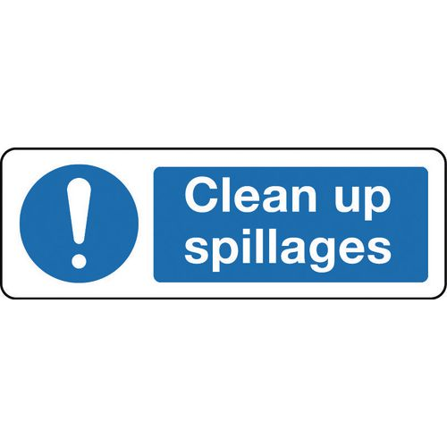 Sign Clean Up Spillages 300x100 Rigid Plastic