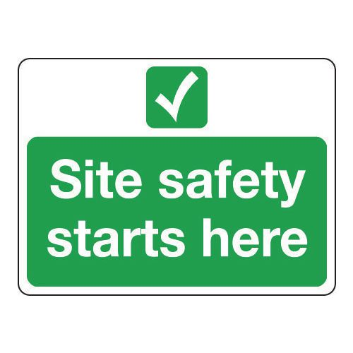 Sign Site Safety Starts Here 600x450 Rigid Plastic