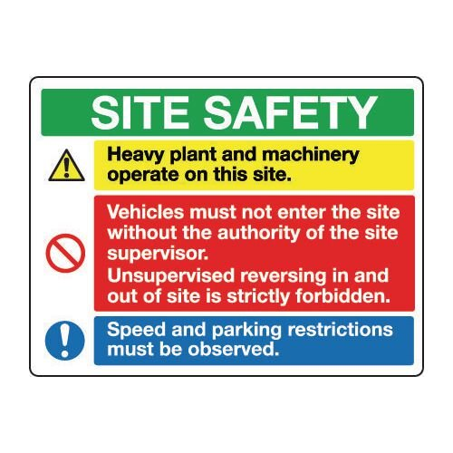 Sign Site Safety 1200x900 Rigid Plastic