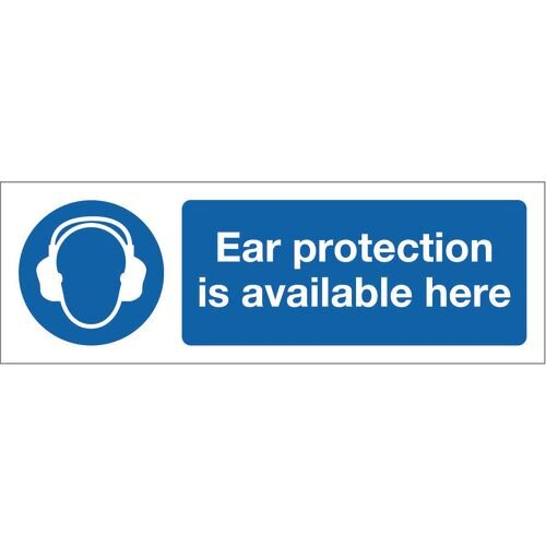 Sign Ear Protection Is Avail 300x100 Rigid Plastic