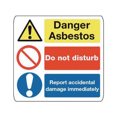 Sign Danger Asbestos 300X300 Rigid Plastic Danger Asbestos Do Not Disturb Report Accidental Damage Immediately