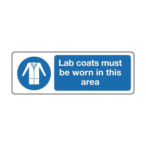 Sign Lab Coats Must Be Worn 300x100 Rigid Plastic Rigid Plastic 300x100 mm