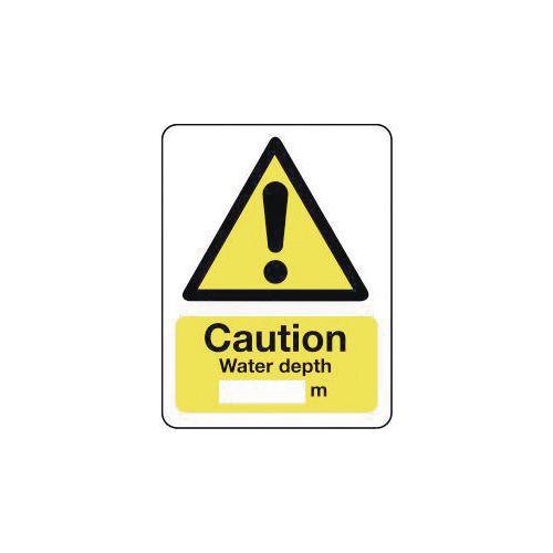 Sign Caution Water Depth 600X200 Rigid Plastic