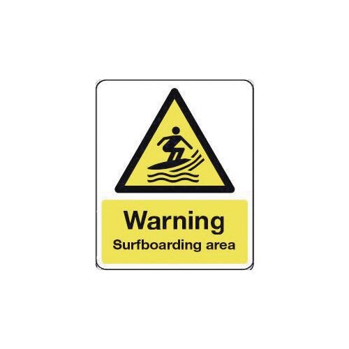 Sign Warning Surfboarding Area 250X300 Rigid Plastic