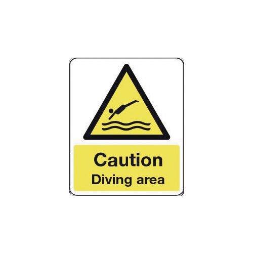 Sign Caution Diving Area 600X200 Rigid Plastic