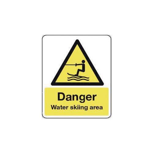 Sign Danger Waterskiing Area 600X200 Rigid Plastic