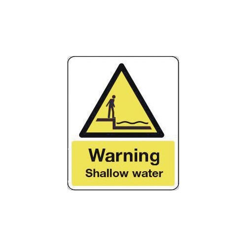 Sign Warning Shallow Water 300X100 Rigid Plastic