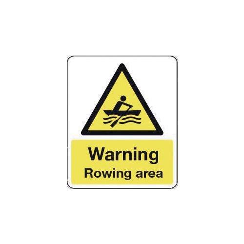Sign Warning Rowing Area 300X100 Rigid Plastic