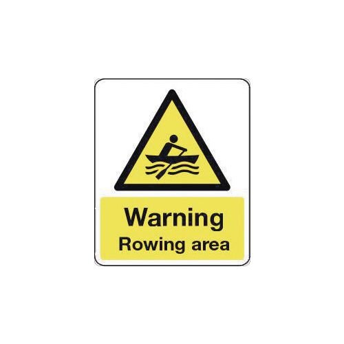 Sign Warning Rowingarea 600X200 Rigid Plastic