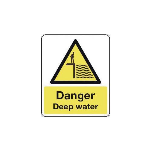 Sign Danger Deep Water 600X200 Rigid Plastic National Water Safety Sign