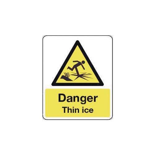 Sign Danger Thin Ice 600X200 Rigid Plastic