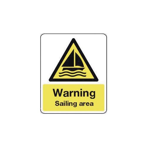 Sign Warning Sailing Area 600X200 Rigid Plastic