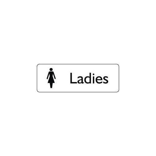 Sign Ladies 200X75 Rigid Plastic Black On White
