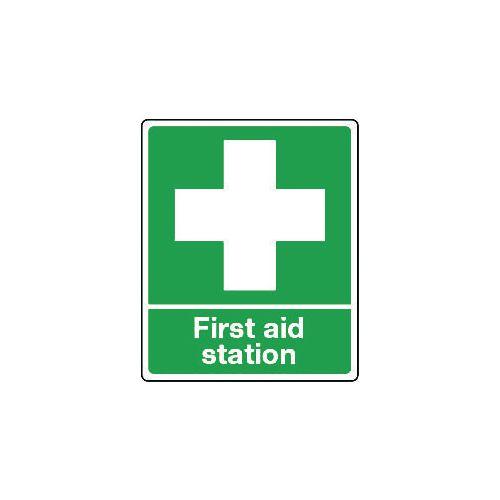 Sign First Aid Station Rigid Plastic 250x300