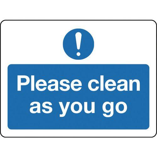 Sign Please Clean As You Go Rigid Plastic 300x100