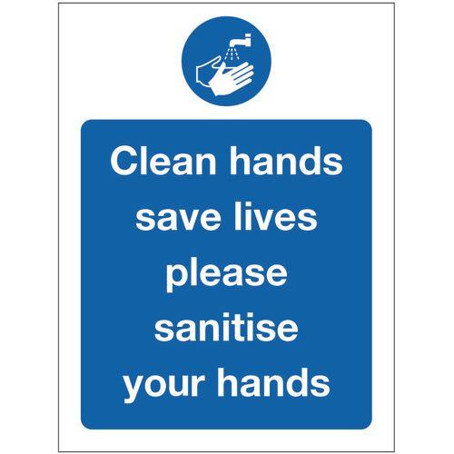 Sign Clean Hands Rigid Plastic 300x100
