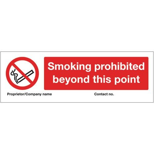 Sign Smoking Prohibited Beyond This Point 300X100 Rigid Plastic