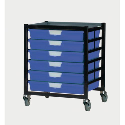 Mobile Tray Storage Unit 6 Shallow Trays Blue A3 525x645x435mm