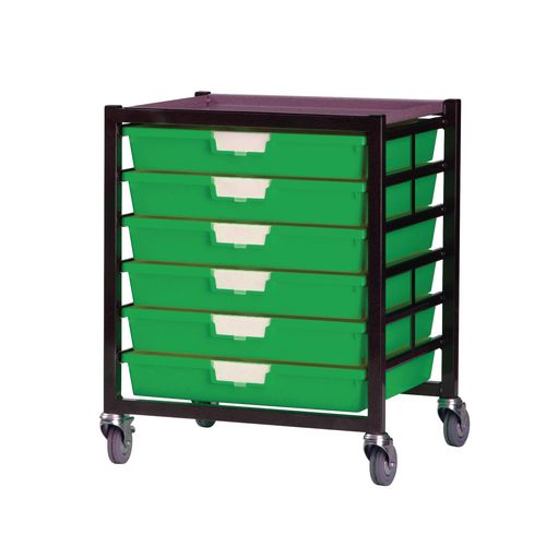 Mobile Tray Storage Unit 6 Shallow Trays Green A3 525x645x435mm