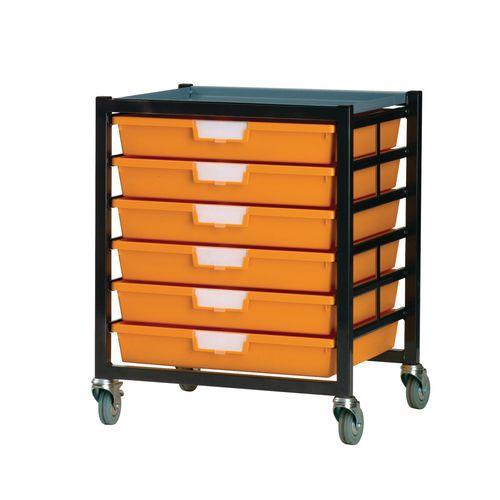 Mobile Tray Storage Unit 6 Shallow Trays Yellow A3 525x645x435mm