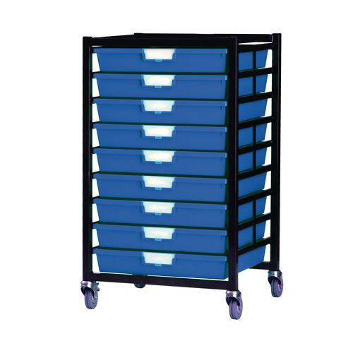 Mobile Tray Storage Unit 9 Shallow Trays Blue A3 525x645x435mm