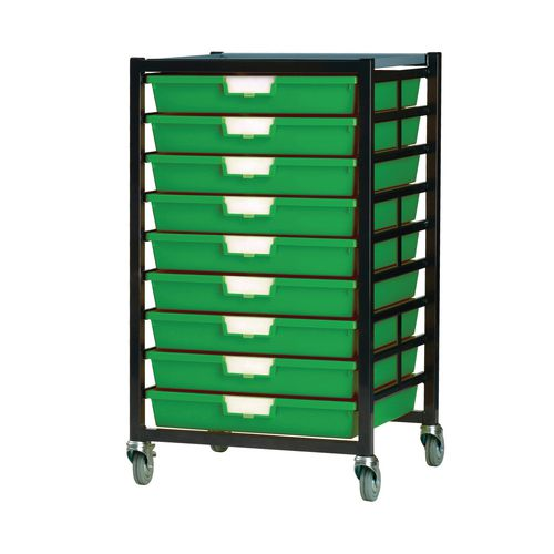 Mobile Tray Storage Unit 9 Shallow Trays Green A3 525x645x435mm