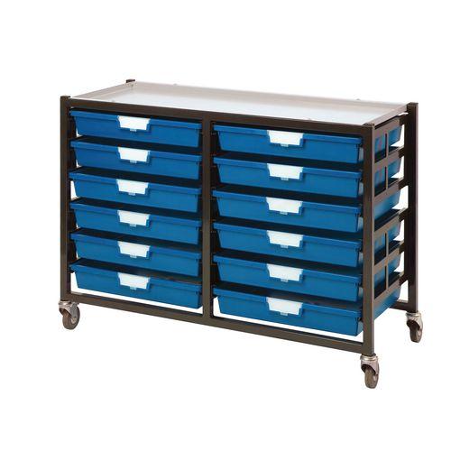 Mobile Tray Storage Unit -12 Shallow Trays Blue A3 1025x645x435mm