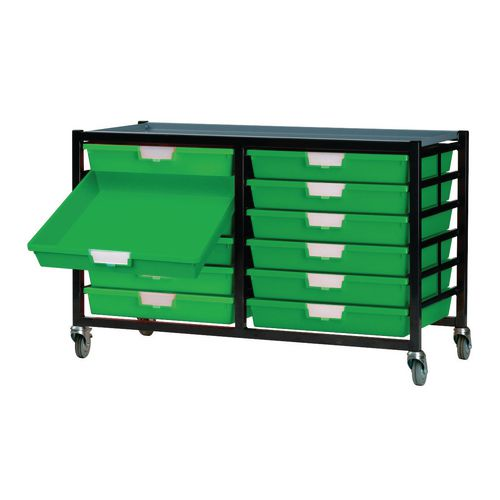 Mobile Tray Storage Unit -12 Shallow Trays Green A3 1025x645x435mm