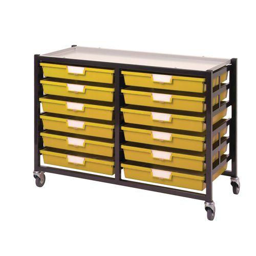 Mobile Tray Storage Unit -12 Shallow Trays Yellow A3 1025x645x435mm