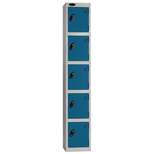Locker Economy Range 5 Door Depth:305mm Silver &Blue