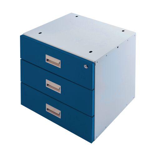 Drawer Unit Triple Blue Drawers 420X420X430mm