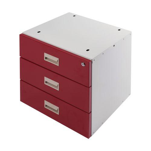 Drawer Unit Triple Red Drawers 420X420X430mm