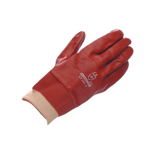 Gloves Red Pvc Knitwrist Size 6.5 Pack of 10 Pairs